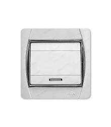 کلید و پریز آسیا الکتریک مدل سیلور سفید